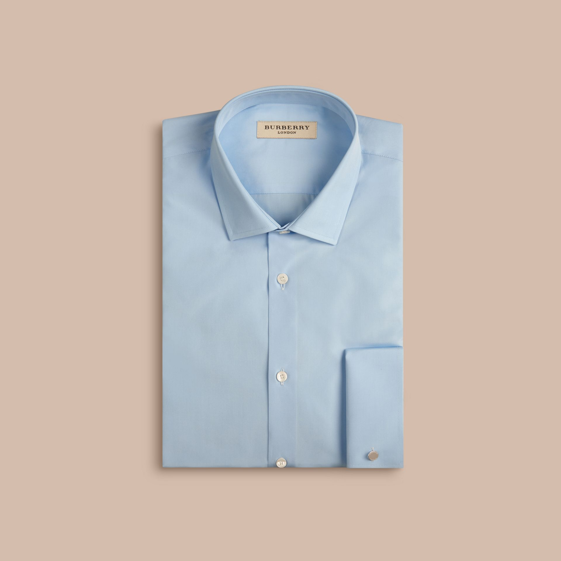 City blue Slim Fit Double Cuff Cotton Poplin Shirt - gallery image 4