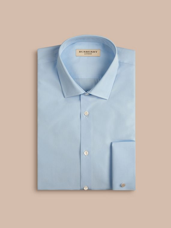 City blue Slim Fit Double Cuff Cotton Poplin Shirt City Blue - cell image 3