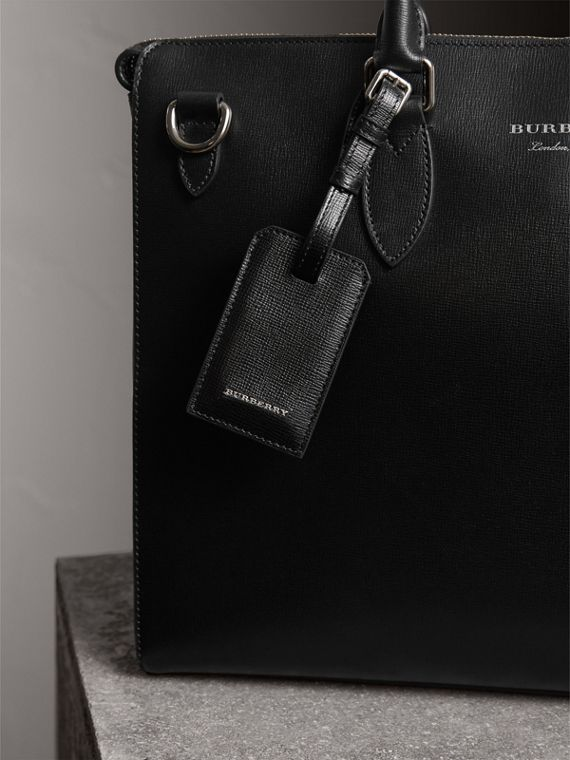 London Leather Luggage Tag in Black | Burberry United Kingdom - cell image 3