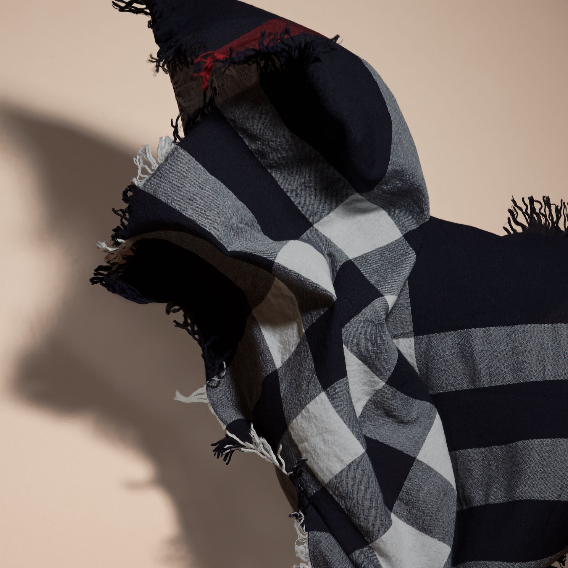 Check Wool Square - Large in Navy | Burberry Canada - gallery image 5