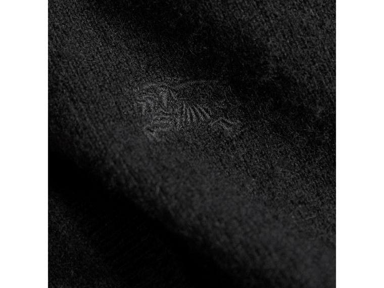 Check Cuff Cashmere Cardigan in Black - Girl | Burberry - cell image 1
