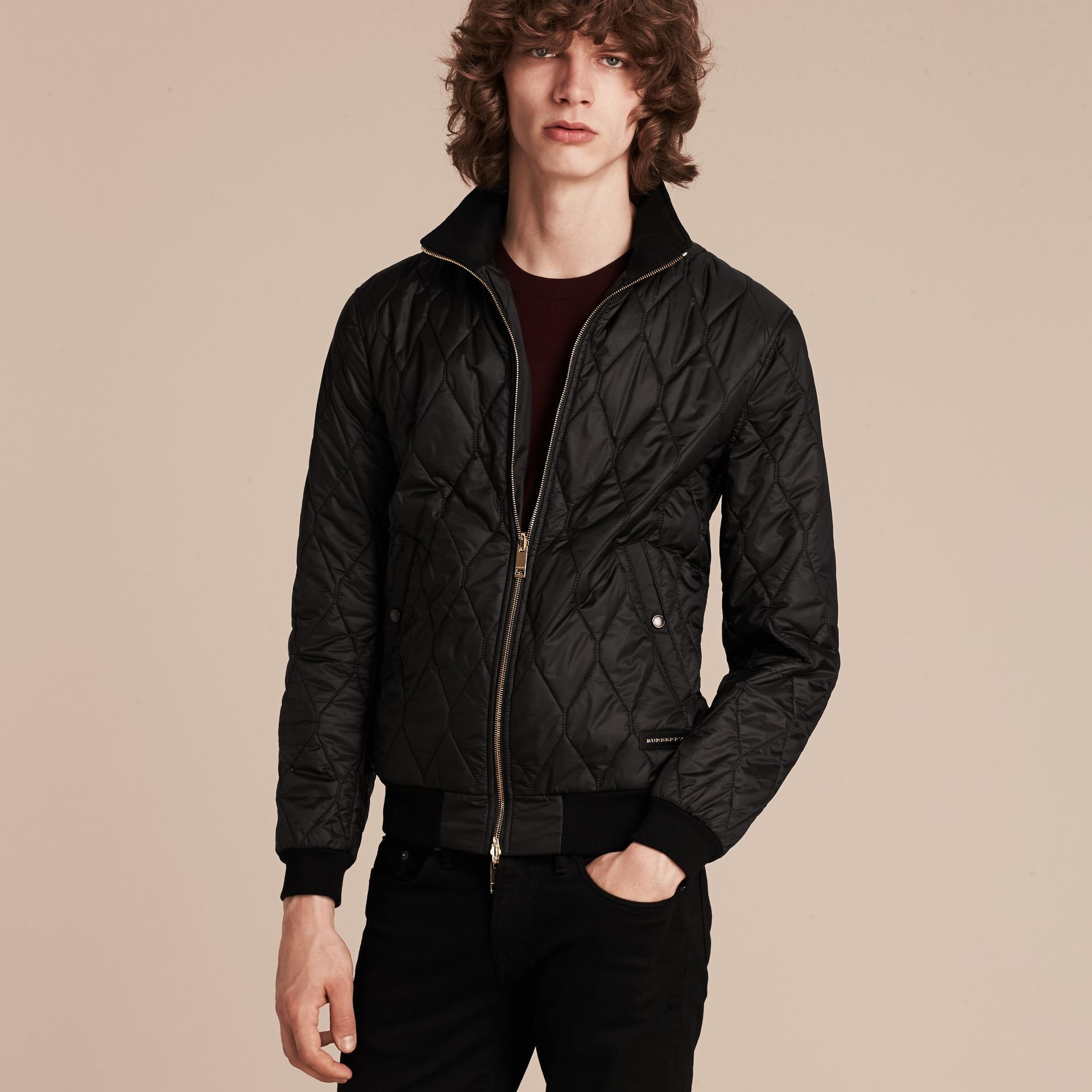 Black Bonded Cotton Field Jacket with Removable Warmer - gallery image 8
