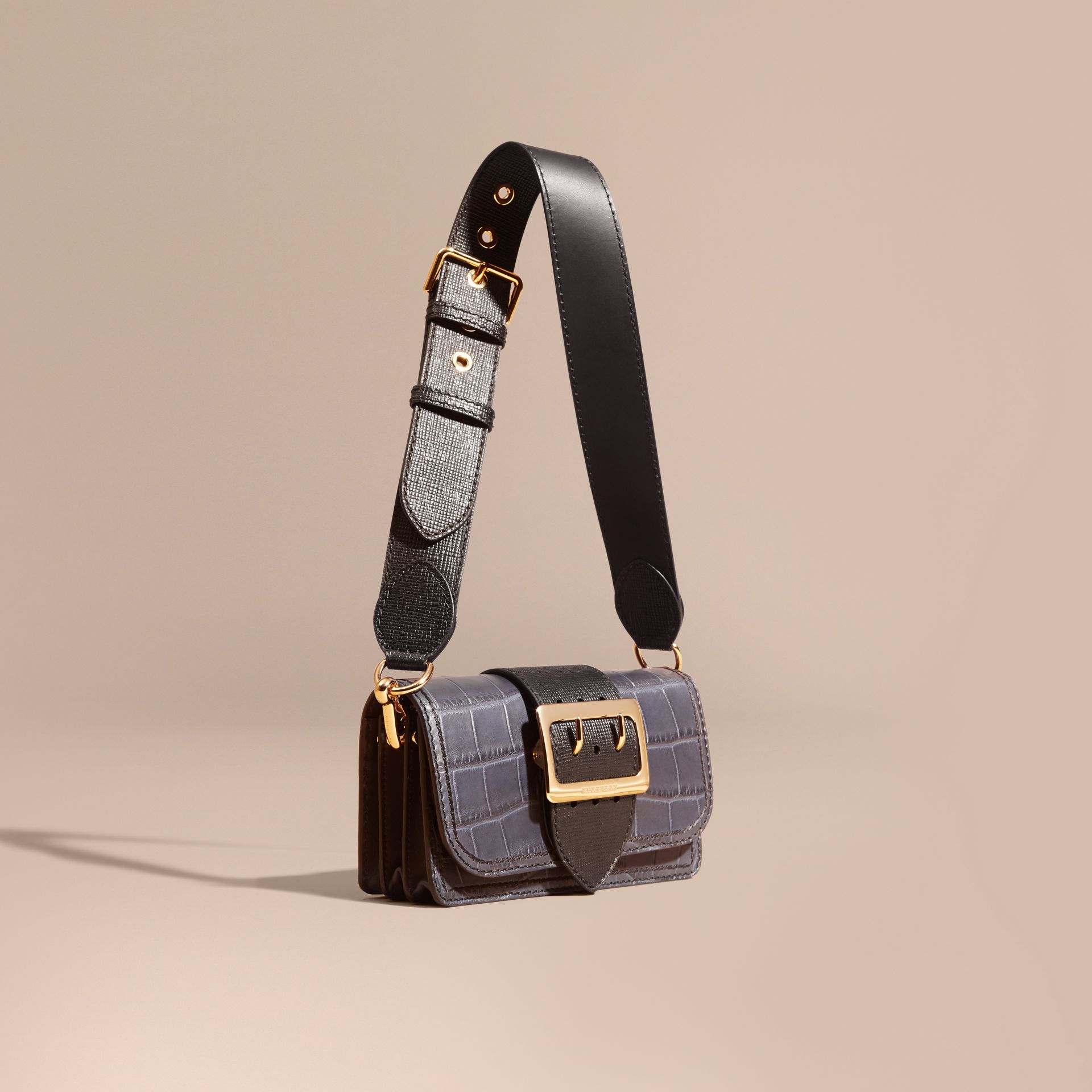 The Small Buckle Bag in Alligator and Leather in Navy / Black - gallery image 1