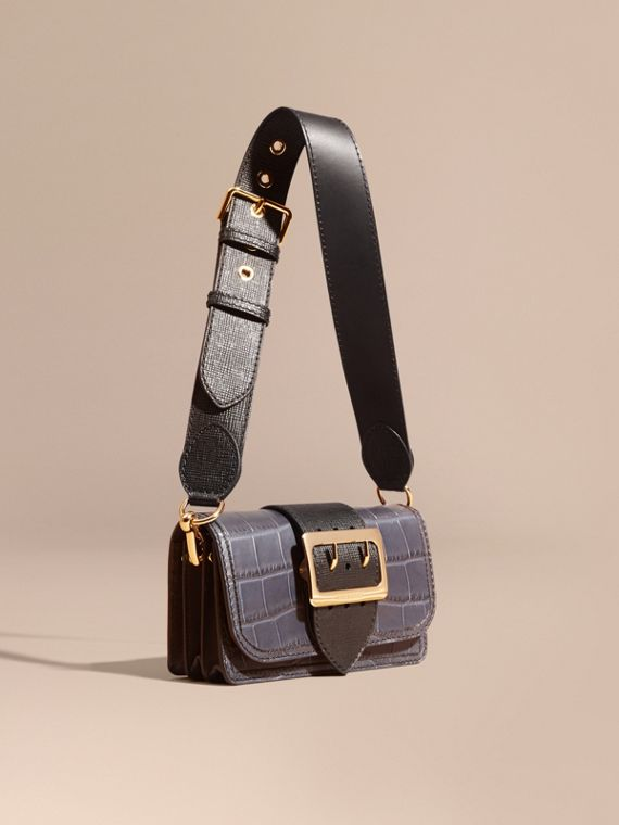 The Small Buckle Bag in Alligator and Leather Navy / Black