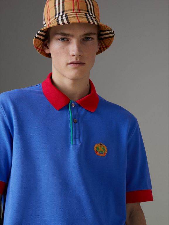 Reissued Cotton Polo Shirt in Cornflower Blue - Men | Burberry - cell image 1