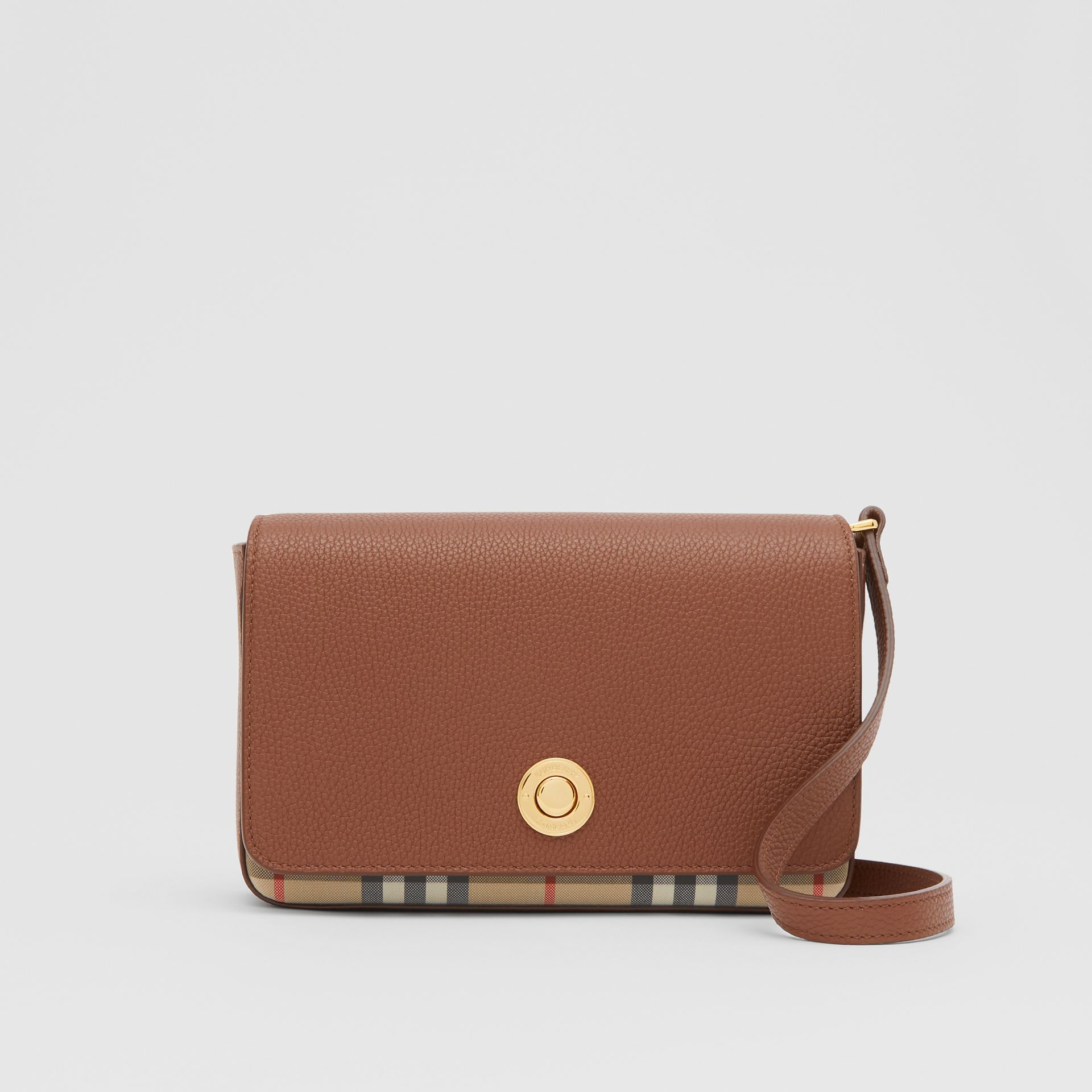 Small Leather and Vintage Check Crossbody Bag in Tan - Women | Burberry United Kingdom - gallery image 0