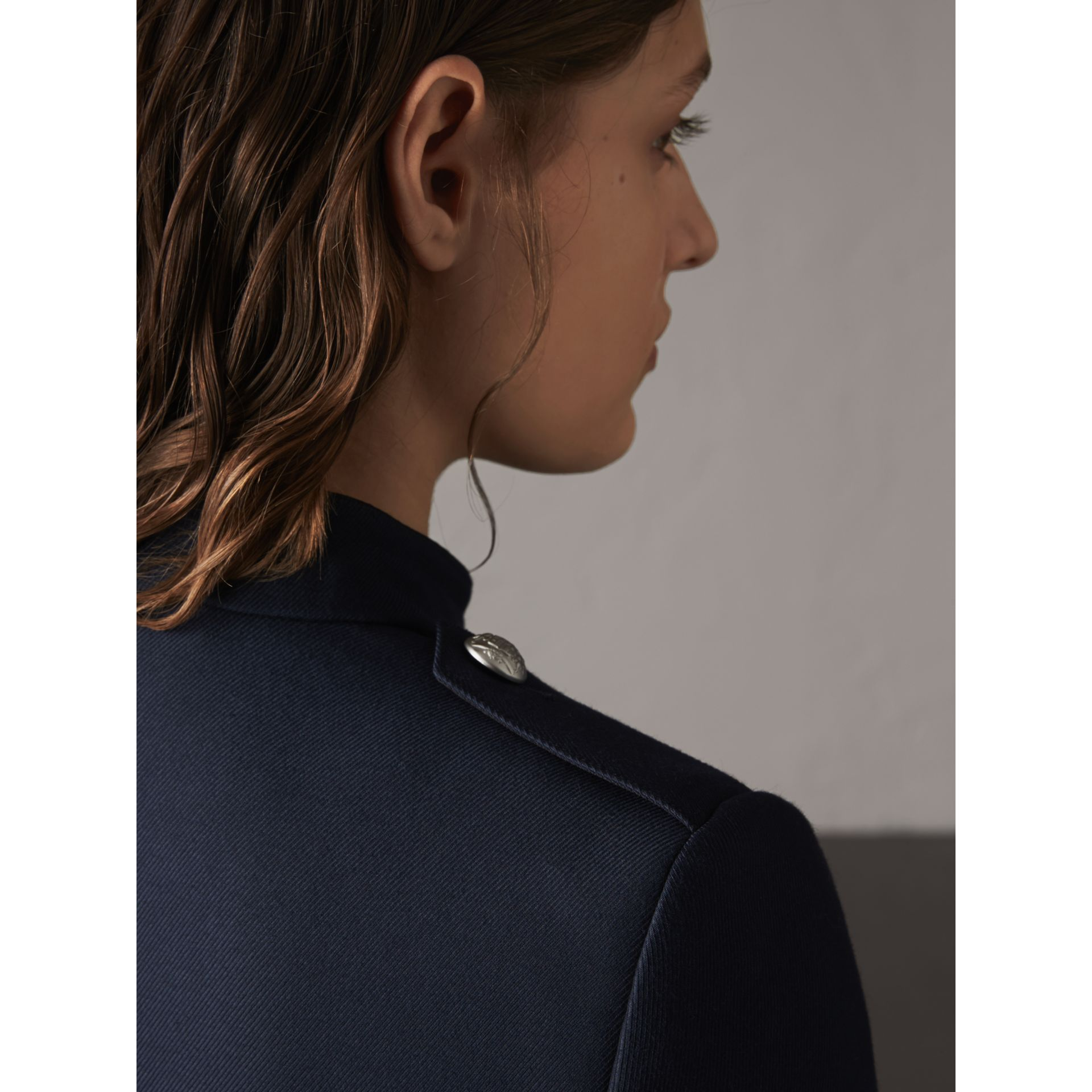 Resin Button Wool Cotton Blend Jacket in Ink Blue - Women | Burberry Singapore - gallery image 5