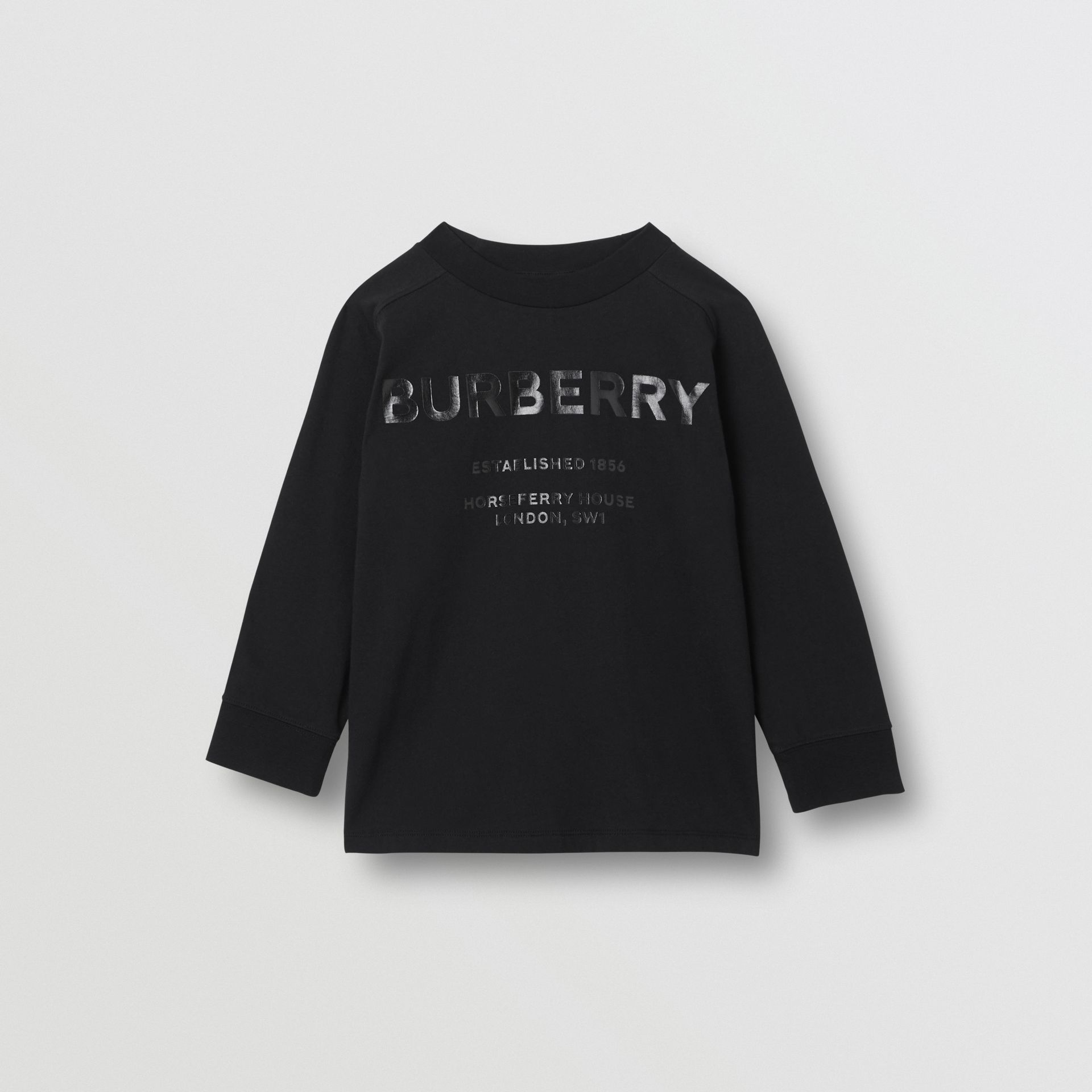 Long-sleeve Horseferry Print Cotton Top in Black | Burberry - gallery image 0