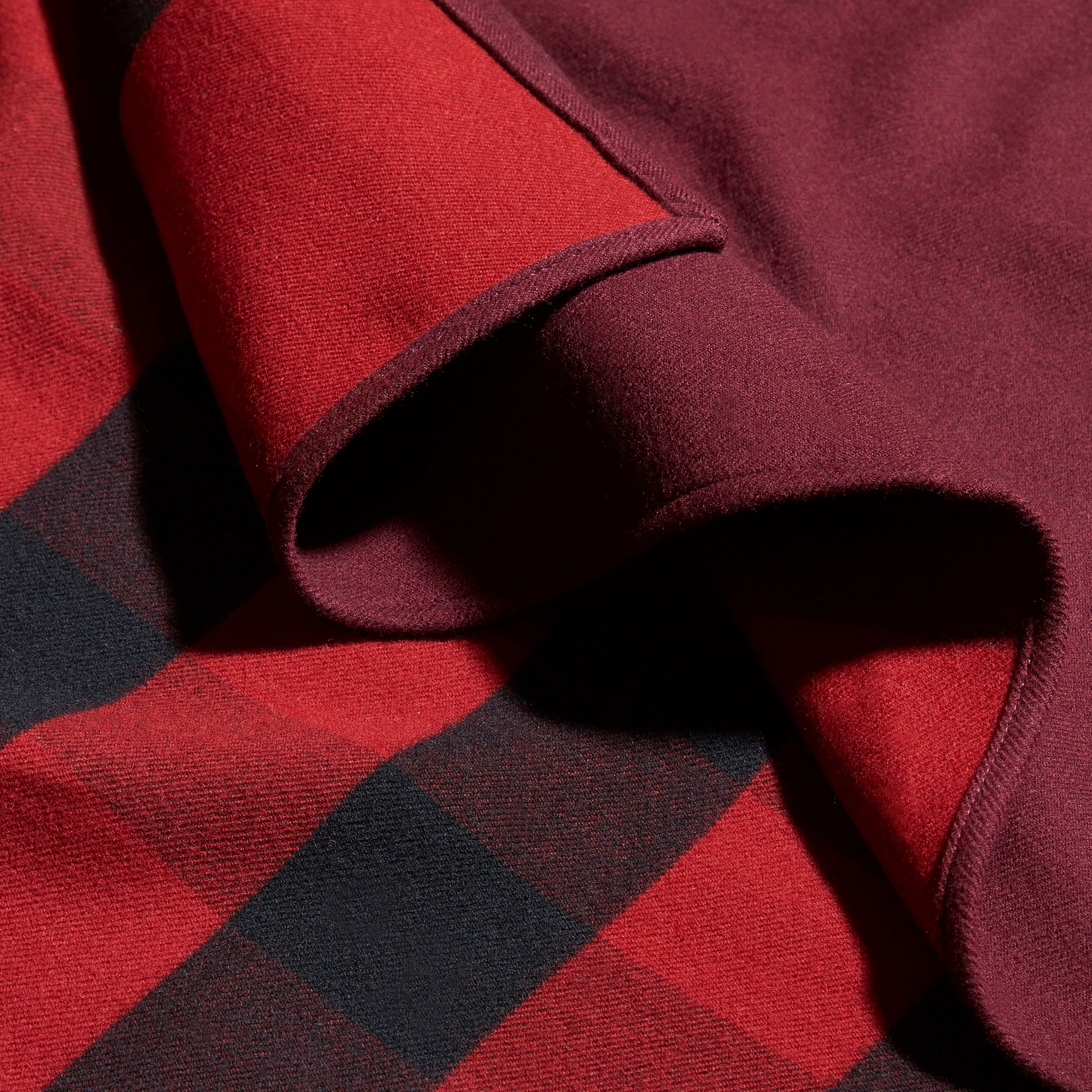 Reversible Check Merino Wool Poncho Parade Red - gallery image 2
