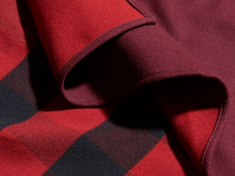 Reversible Check Merino Wool Poncho in Parade Red - Women | Burberry Canada - cell image 1