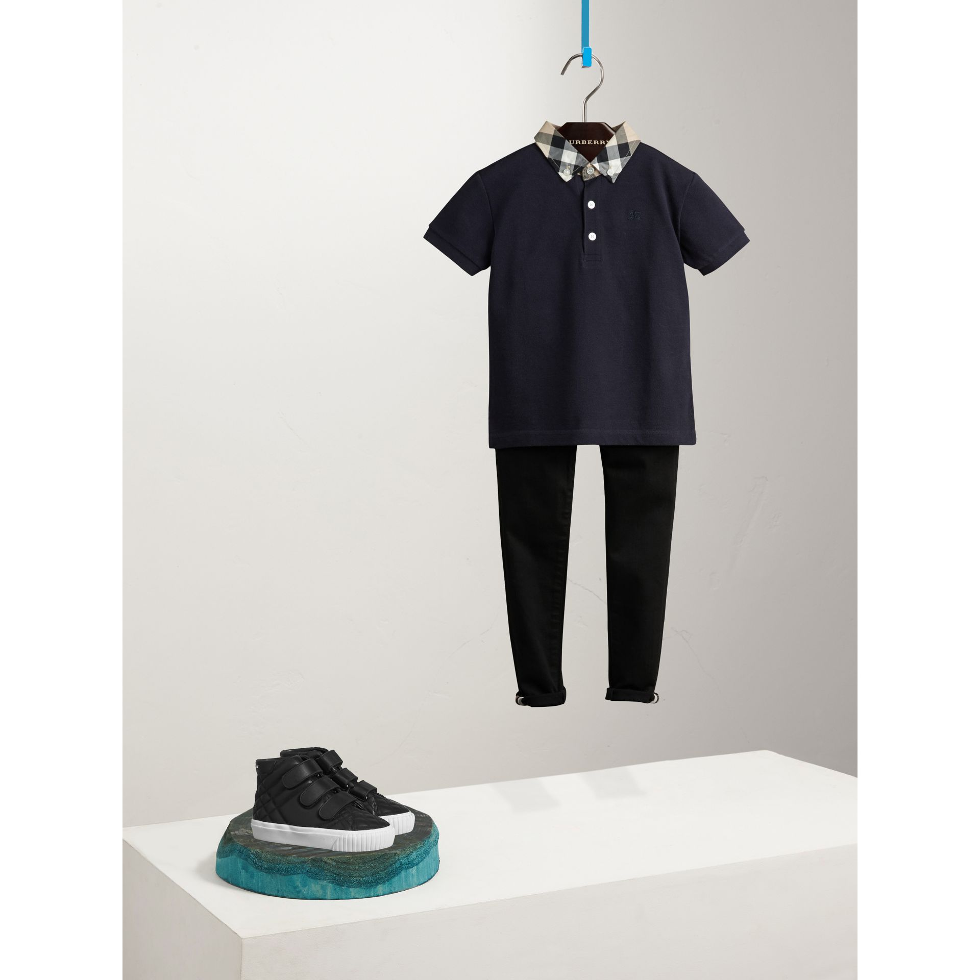 Check Collar Polo Shirt in True Navy - Boy | Burberry - gallery image 0