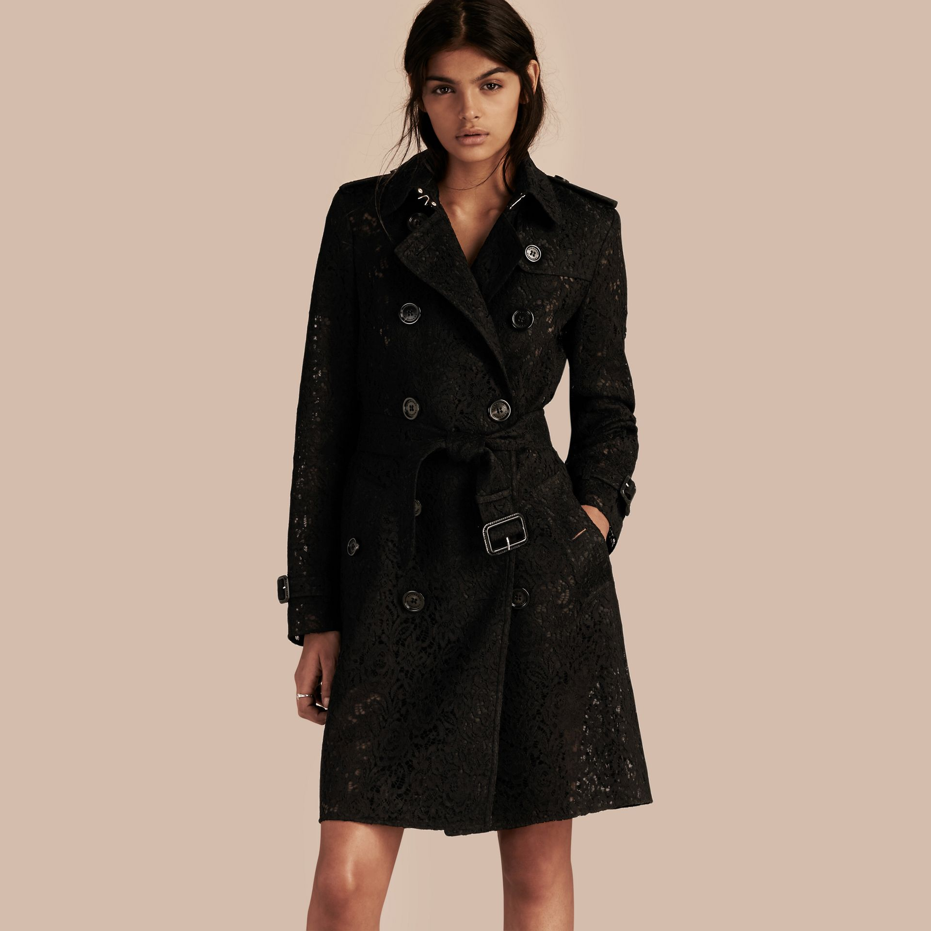 Black Italian Lace Trench Coat - gallery image 1