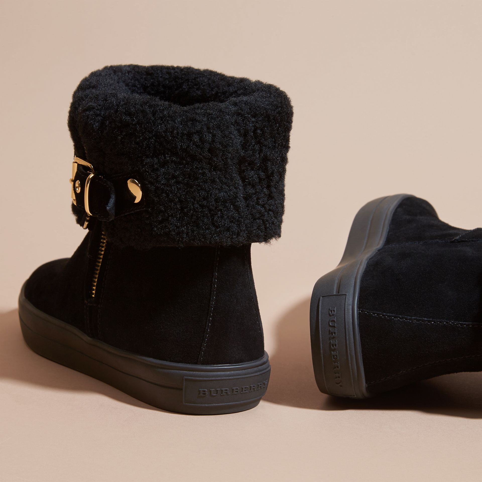 Black Shearling-lined Suede Ankle Boots - gallery image 4