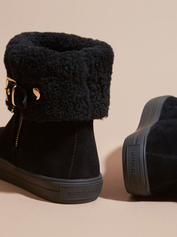 Shearling-lined Suede Ankle Boots in Black - Women | Burberry - cell image 3