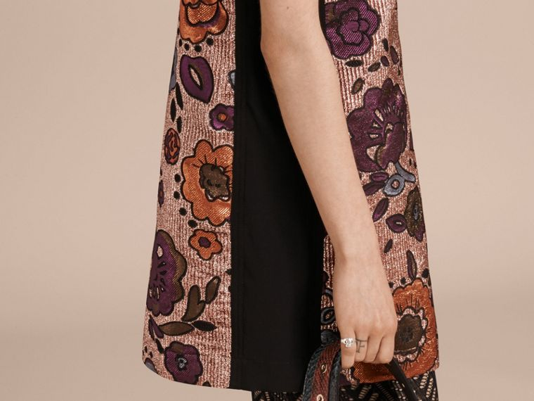 Copper rose Lamé and Floral Jacquard Shirt Dress - cell image 4
