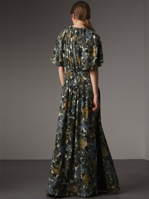 Beasts Print Deep V-neck Silk Longline Dress in Clay Green - Women | Burberry - cell image 2