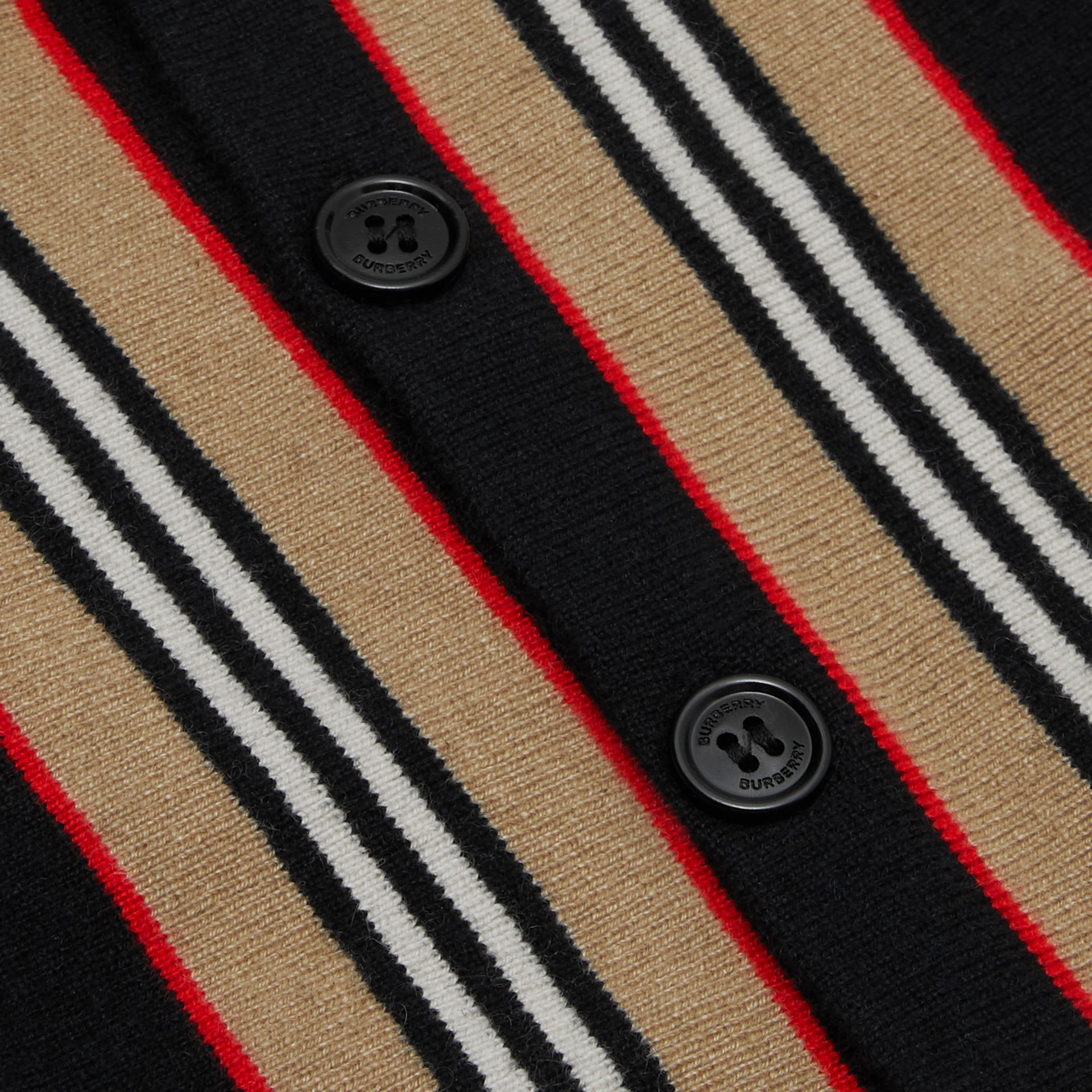 Icon Stripe Detail Wool Cashmere Cardigan in Black | Burberry Australia - gallery image 1