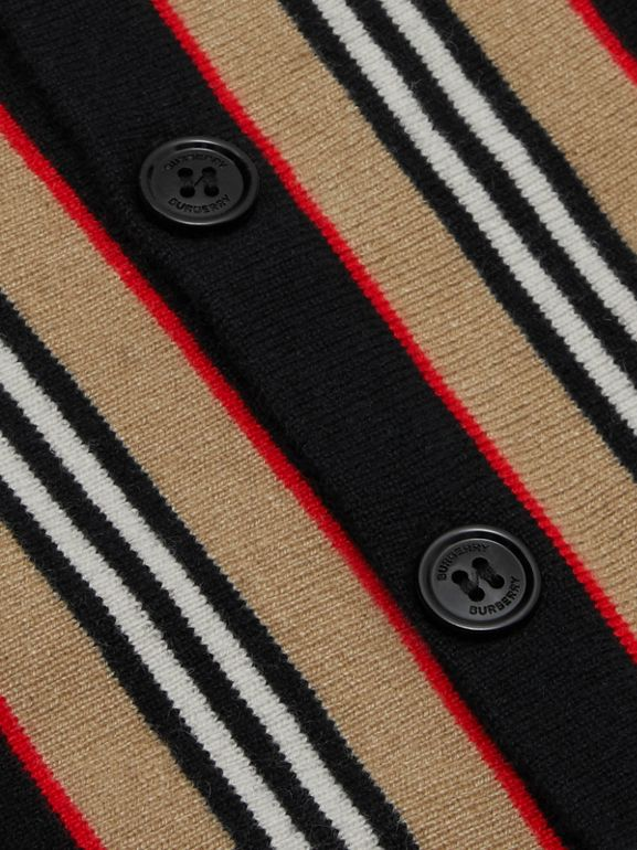 Icon Stripe Detail Wool Cashmere Cardigan in Black | Burberry Australia - cell image 1