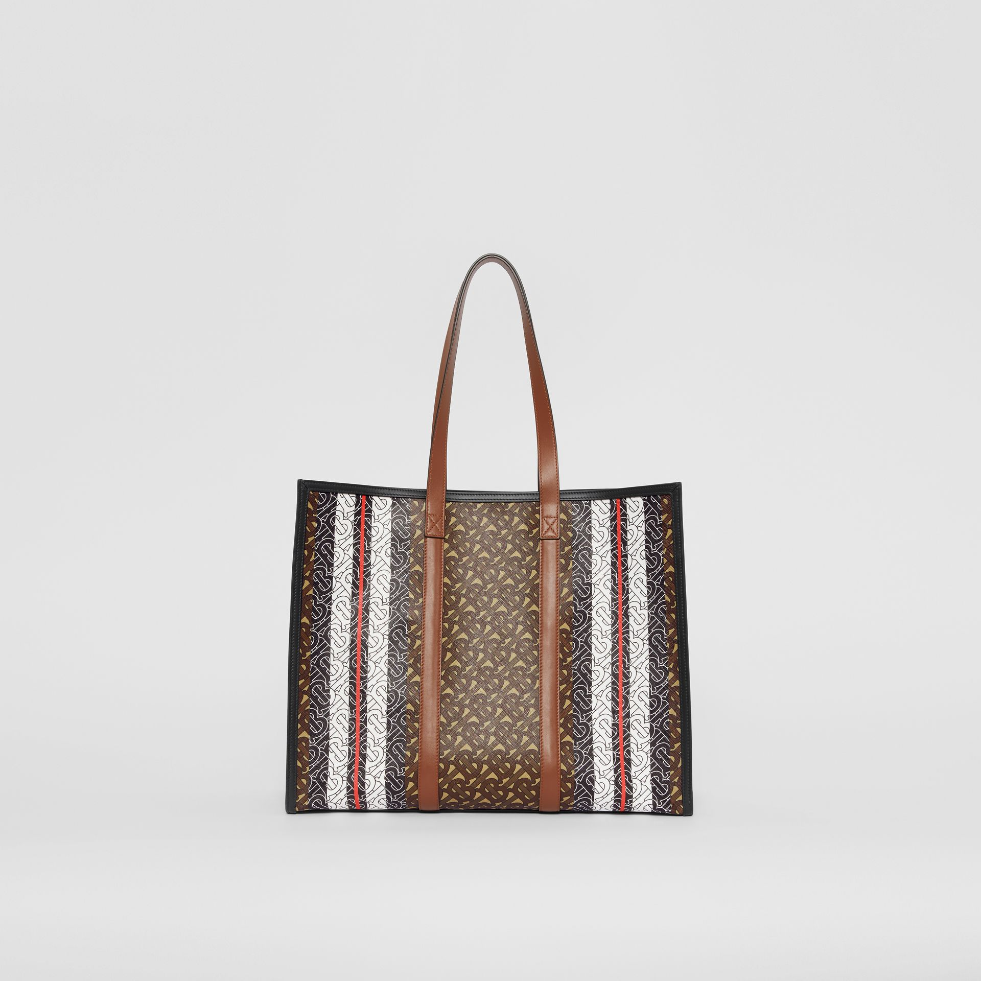 Small Monogram Stripe E-canvas Tote Bag in Bridle Brown - Women | Burberry - gallery image 9