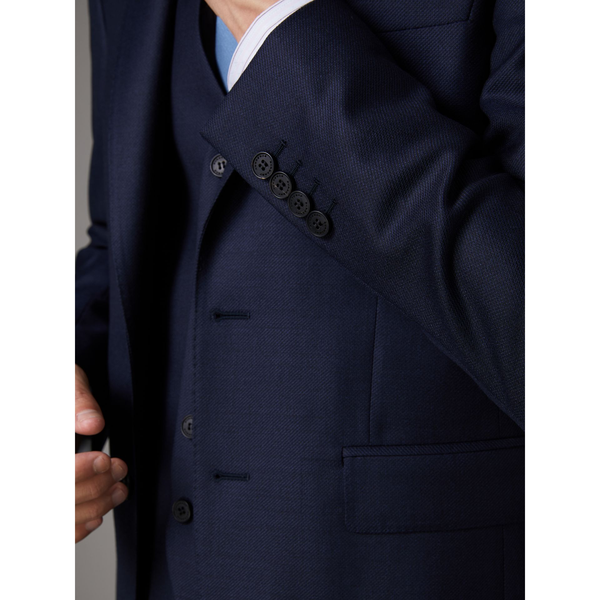 Slim Fit Travel Tailoring Wool Three-piece Suit in Navy - Men | Burberry - gallery image 6