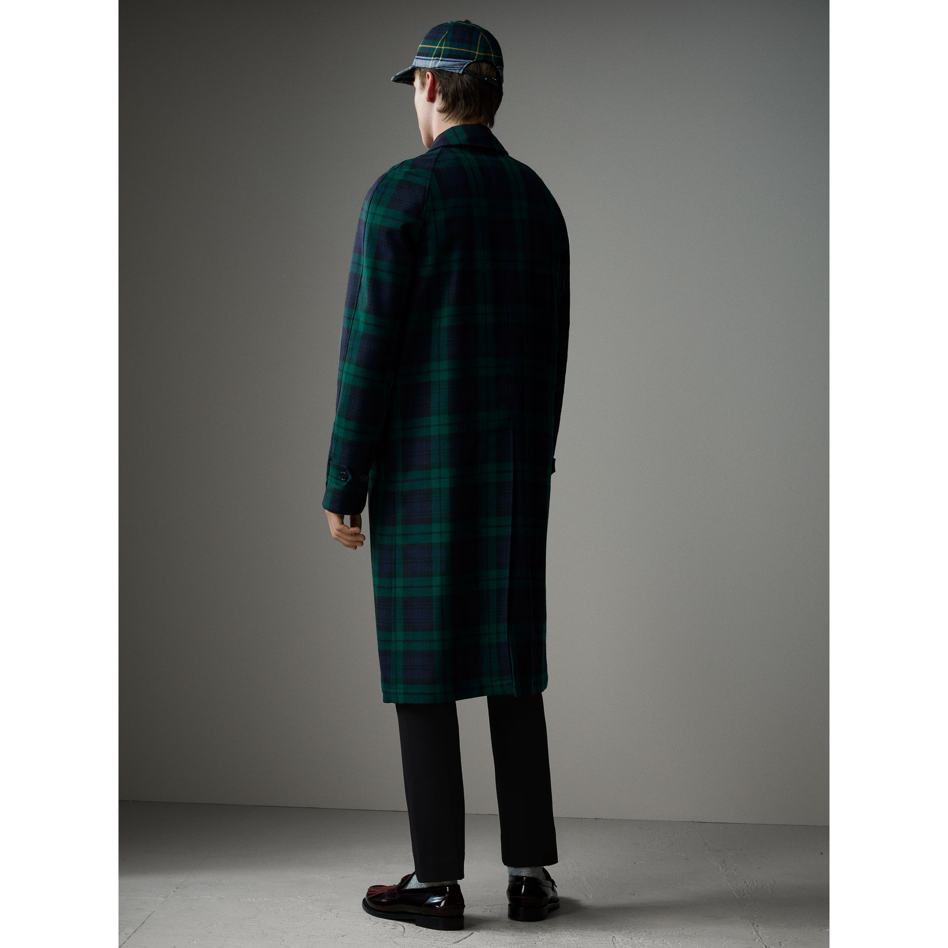 Reversible Tartan Wool and Cotton Gabardine Car Coat in Navy - Men | Burberry - gallery image 2