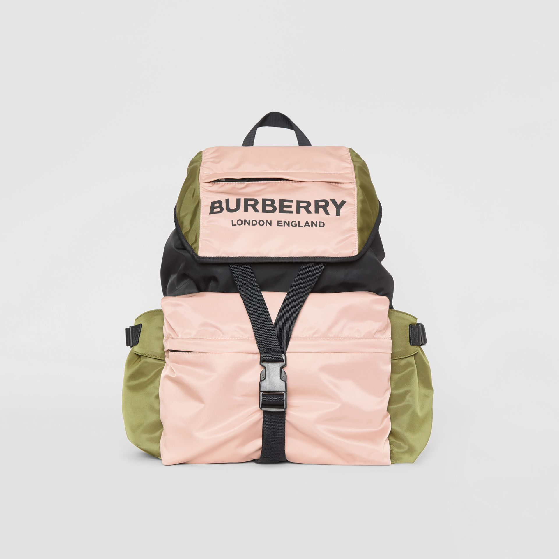 Logo Print Tri-Tone Nylon Backpack in Rose Beige - Women | Burberry United Kingdom - gallery image 0