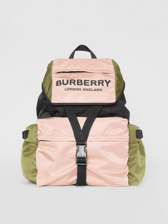 Logo Print Tri-Tone Nylon Backpack in Rose Beige