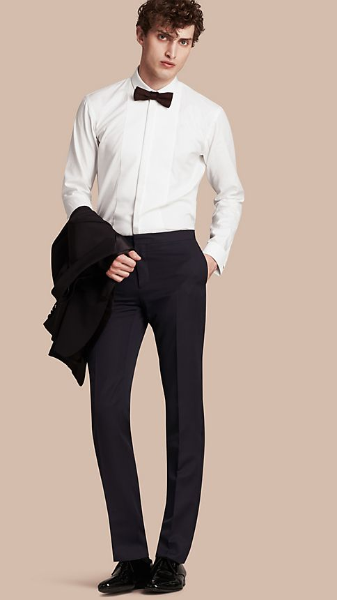 Navy Virgin Wool Tuxedo Trousers Navy - Image 1