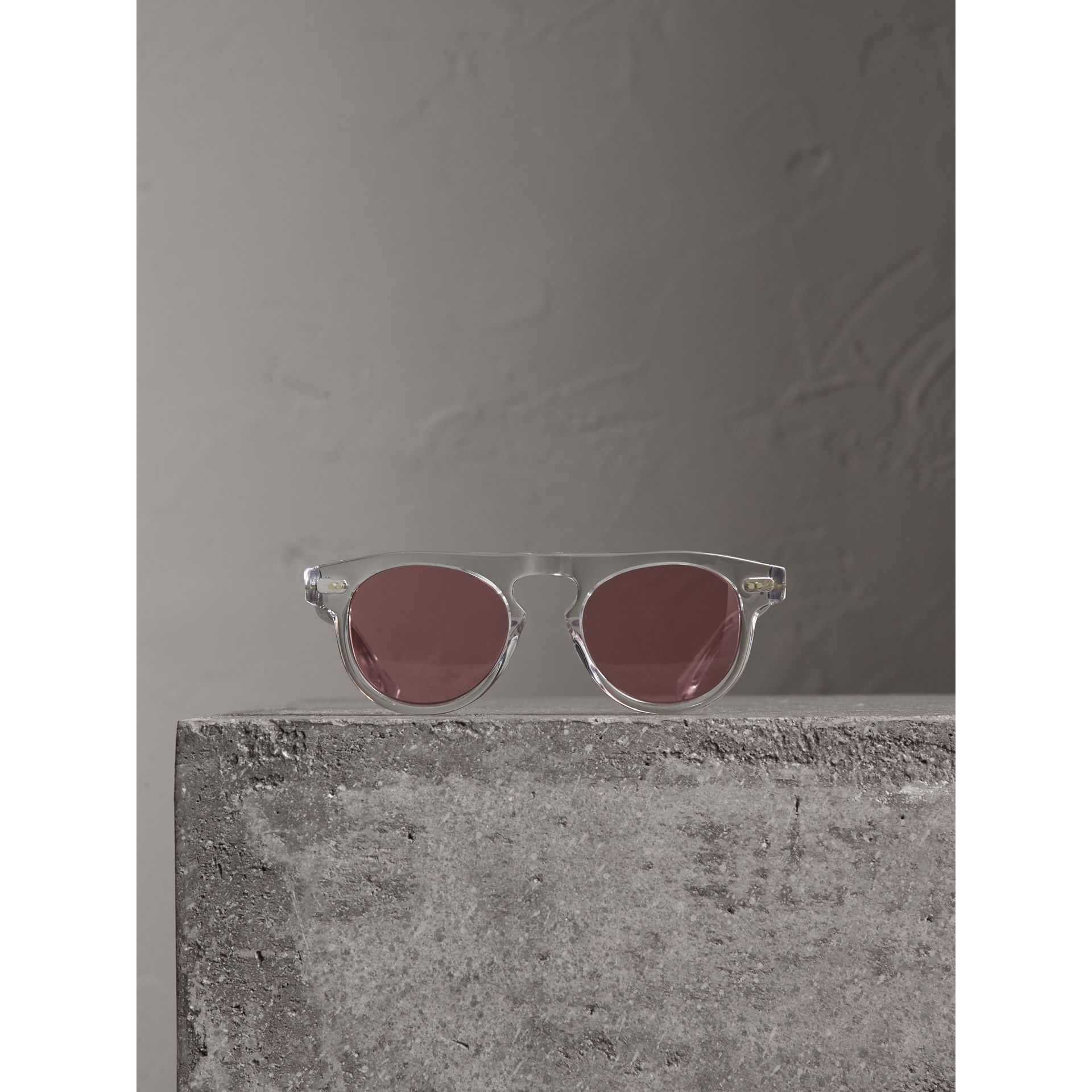 The Keyhole Round Frame Sunglasses in Crystal/pink | Burberry Australia - gallery image 3