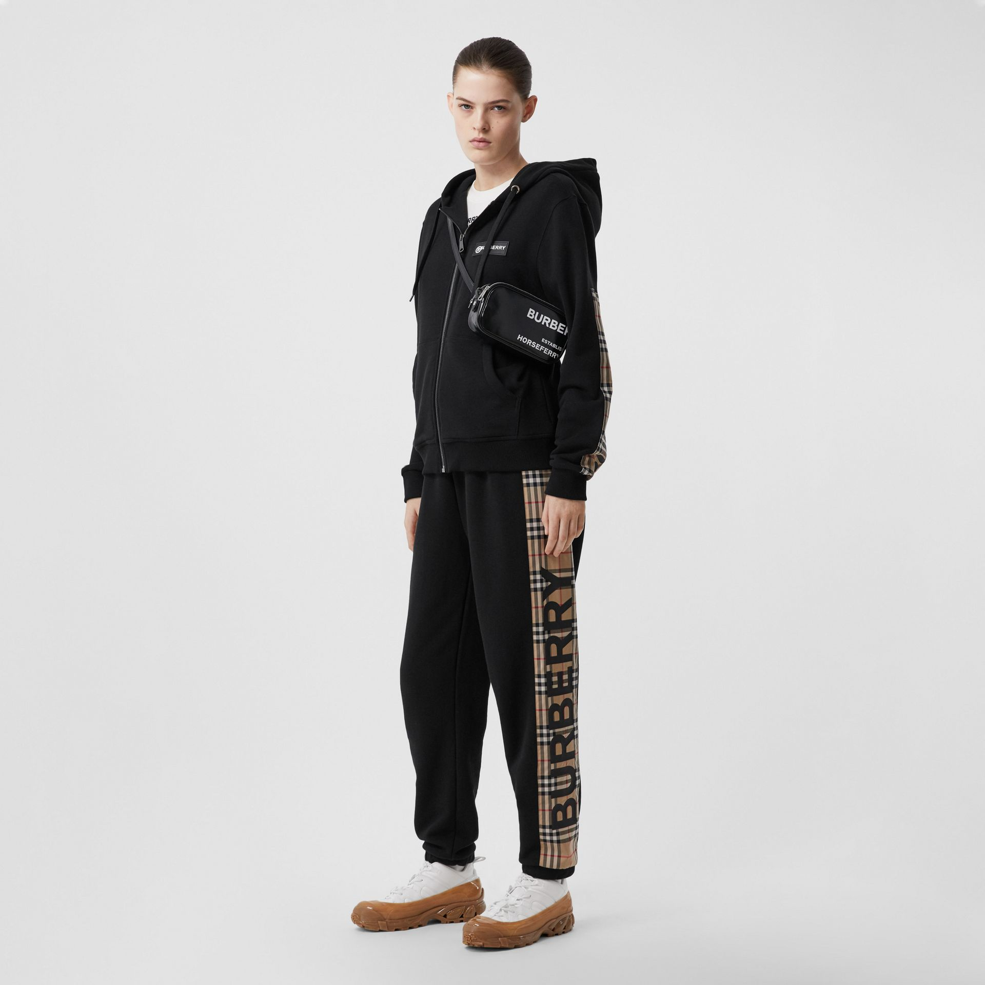 Vintage Check Panel Cotton Trackpants in Black - Women | Burberry - gallery image 0