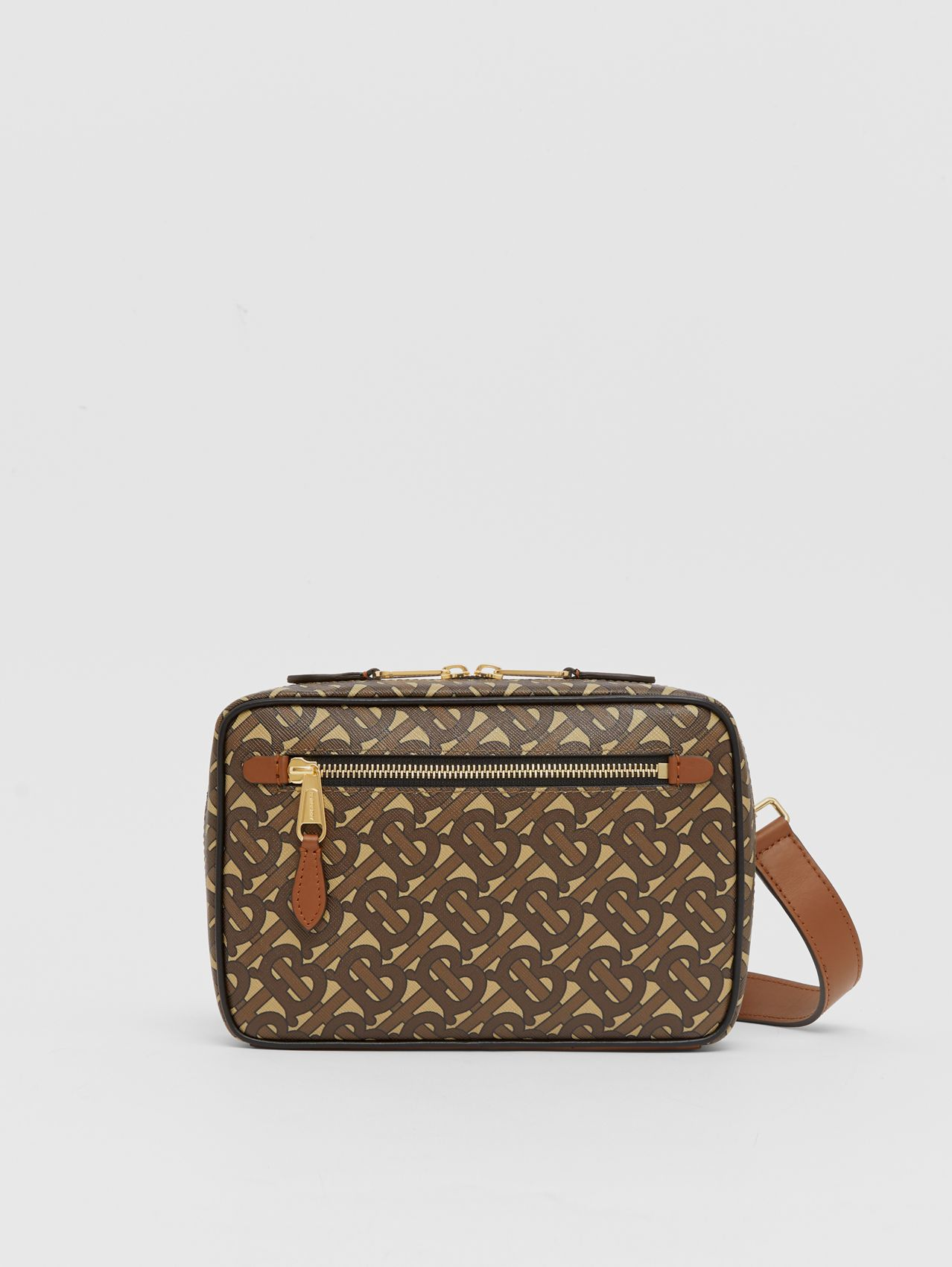 Monogram Print E-canvas Crossbody Bag (Bridle Brown)