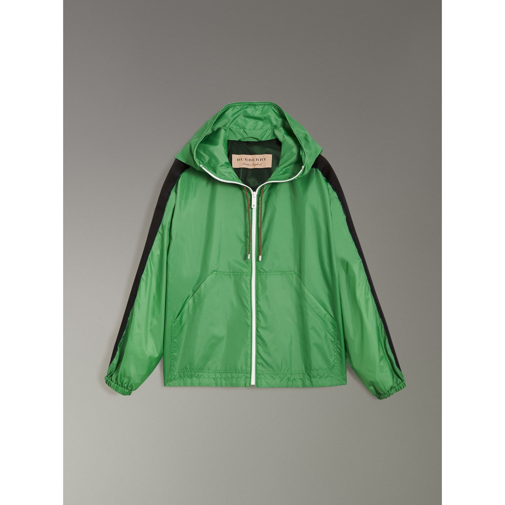 Stripe Detail Showerproof Hooded Jacket in Bright Pigment Green - Women | Burberry - gallery image 3