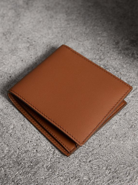 Trench Leather International Bifold Wallet in Tan - Men | Burberry United States - cell image 2