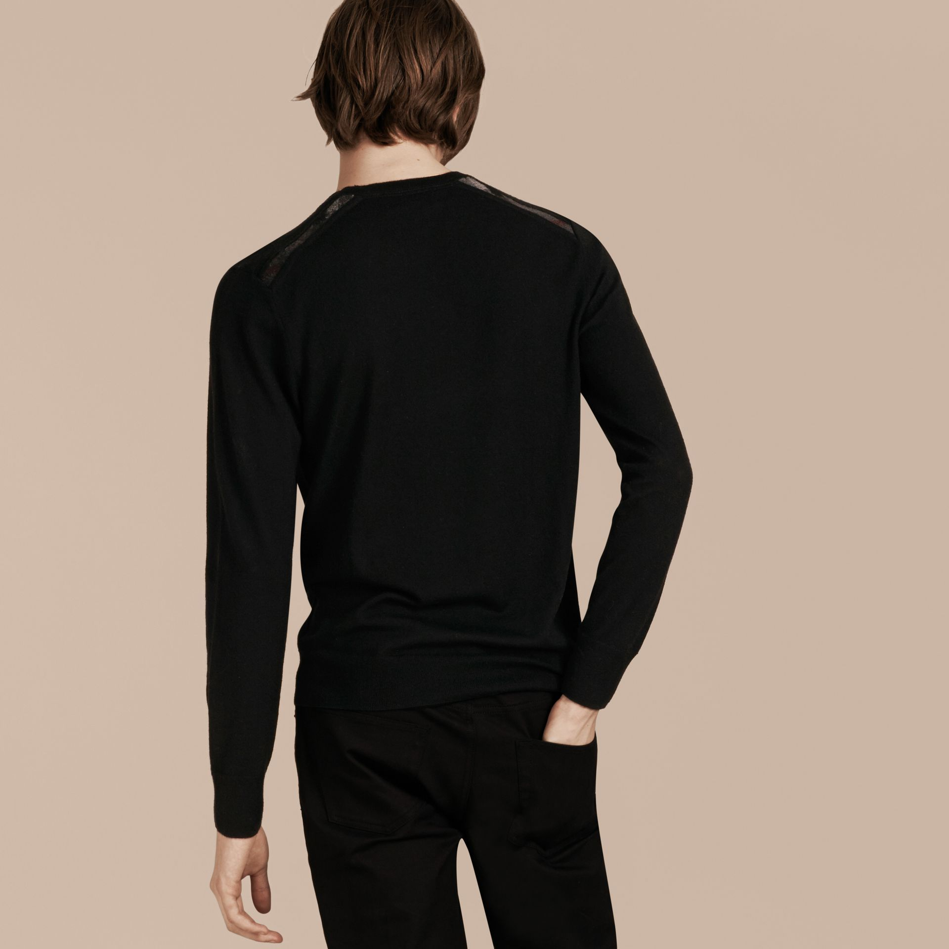 Lightweight Crew Neck Cashmere Sweater with Check Trim Black - gallery image 3