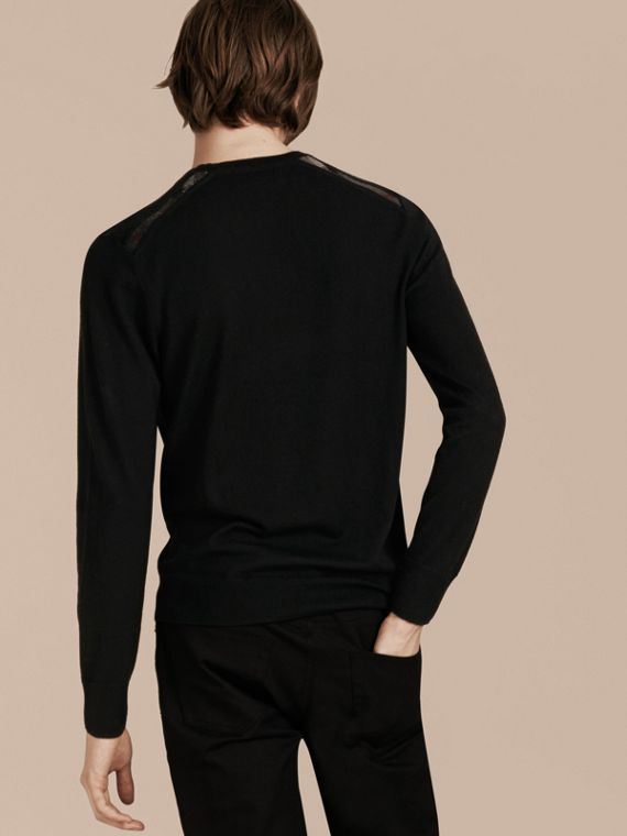 Lightweight Crew Neck Cashmere Sweater with Check Trim in Black - cell image 2