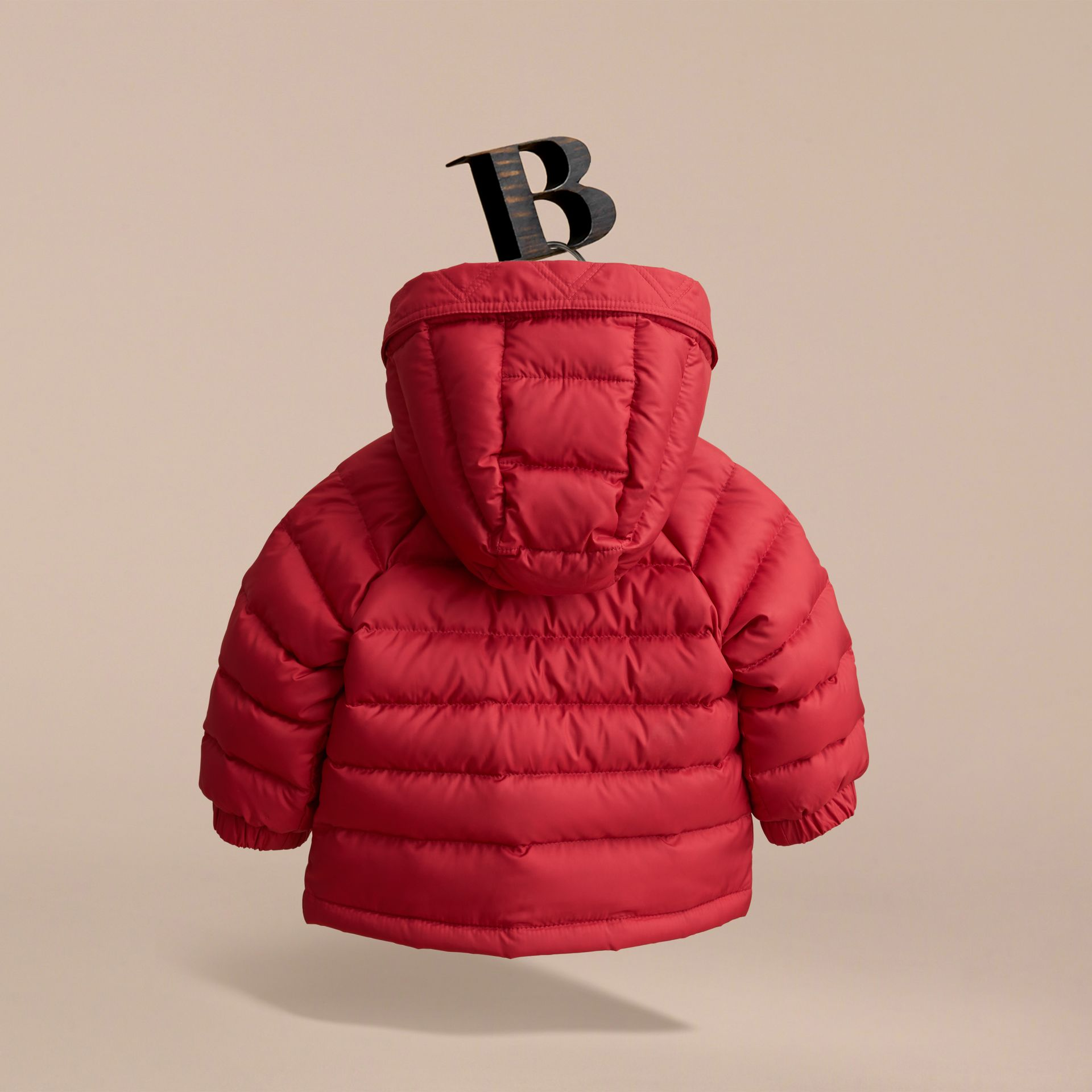 Shower-resistant Hooded Puffer Jacket in Parade Red | Burberry - gallery image 4