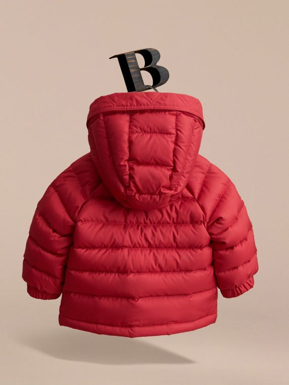 Shower-resistant Hooded Puffer Jacket in Parade Red | Burberry - cell image 3