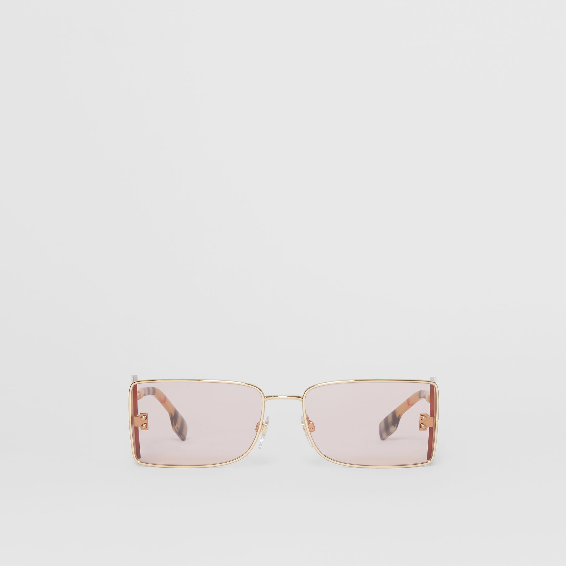 'B' Lens Detail Rectangular Frame Sunglasses in Gold - Women | Burberry - gallery image 0