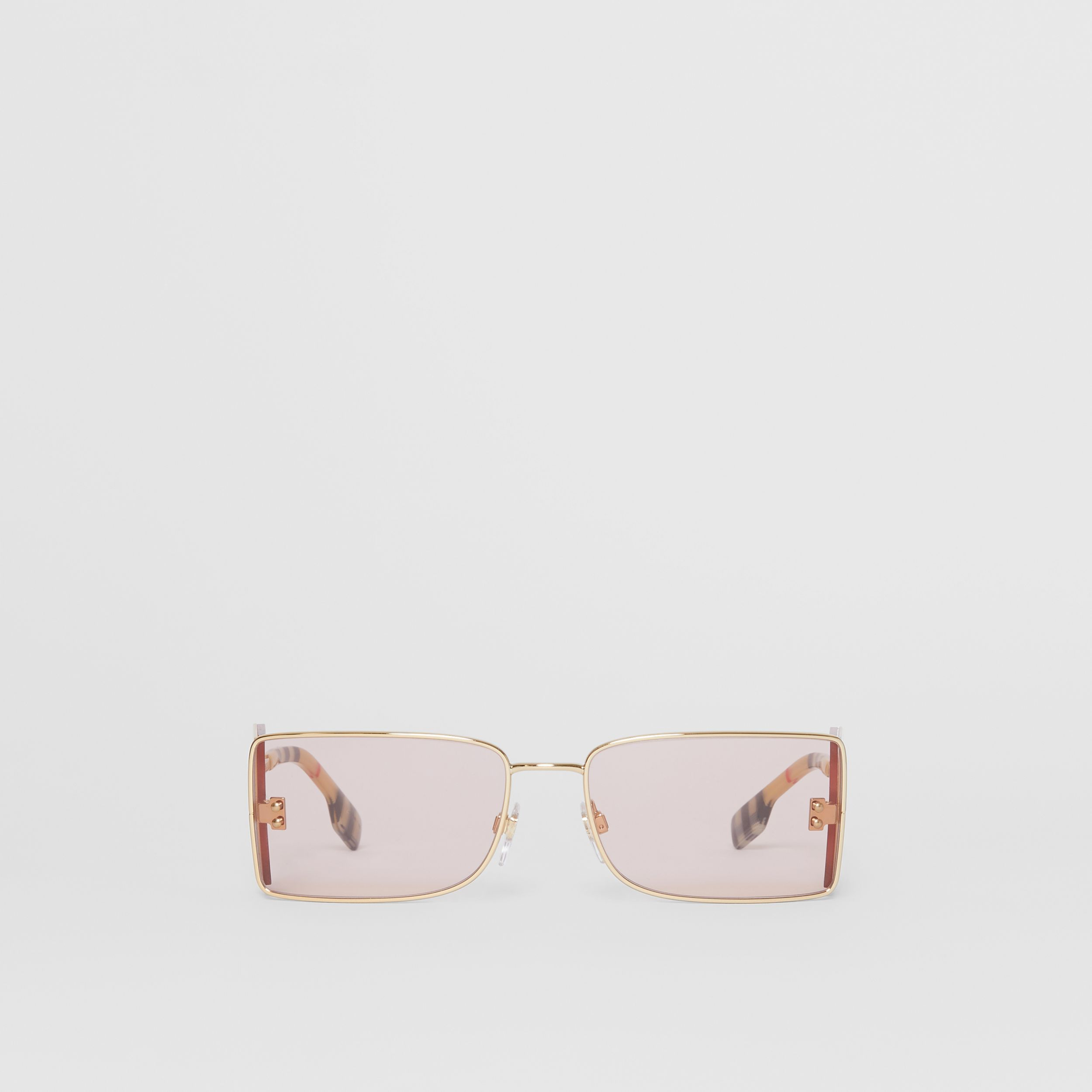 'B' Lens Detail Rectangular Frame Sunglasses in Gold | Burberry - 1