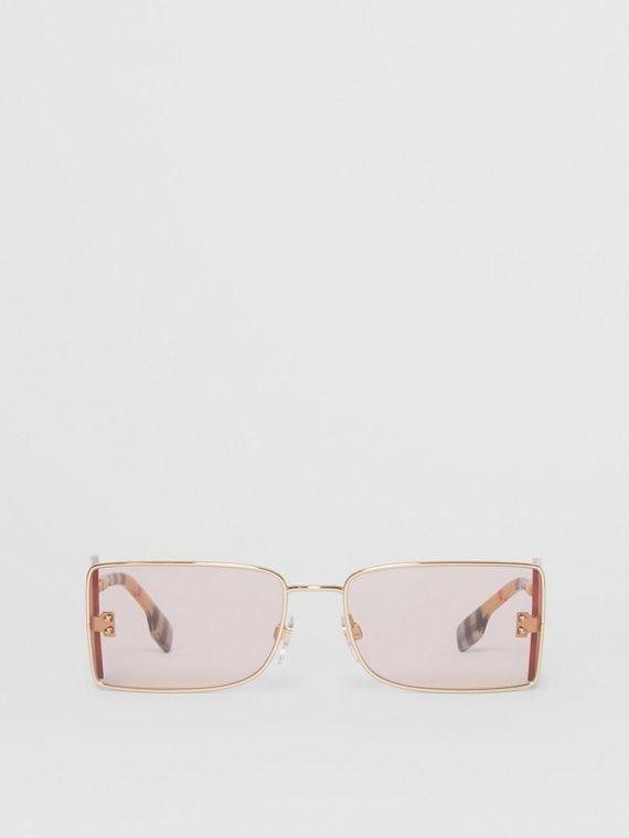 'B' Lens Detail Rectangular Frame Sunglasses in Gold