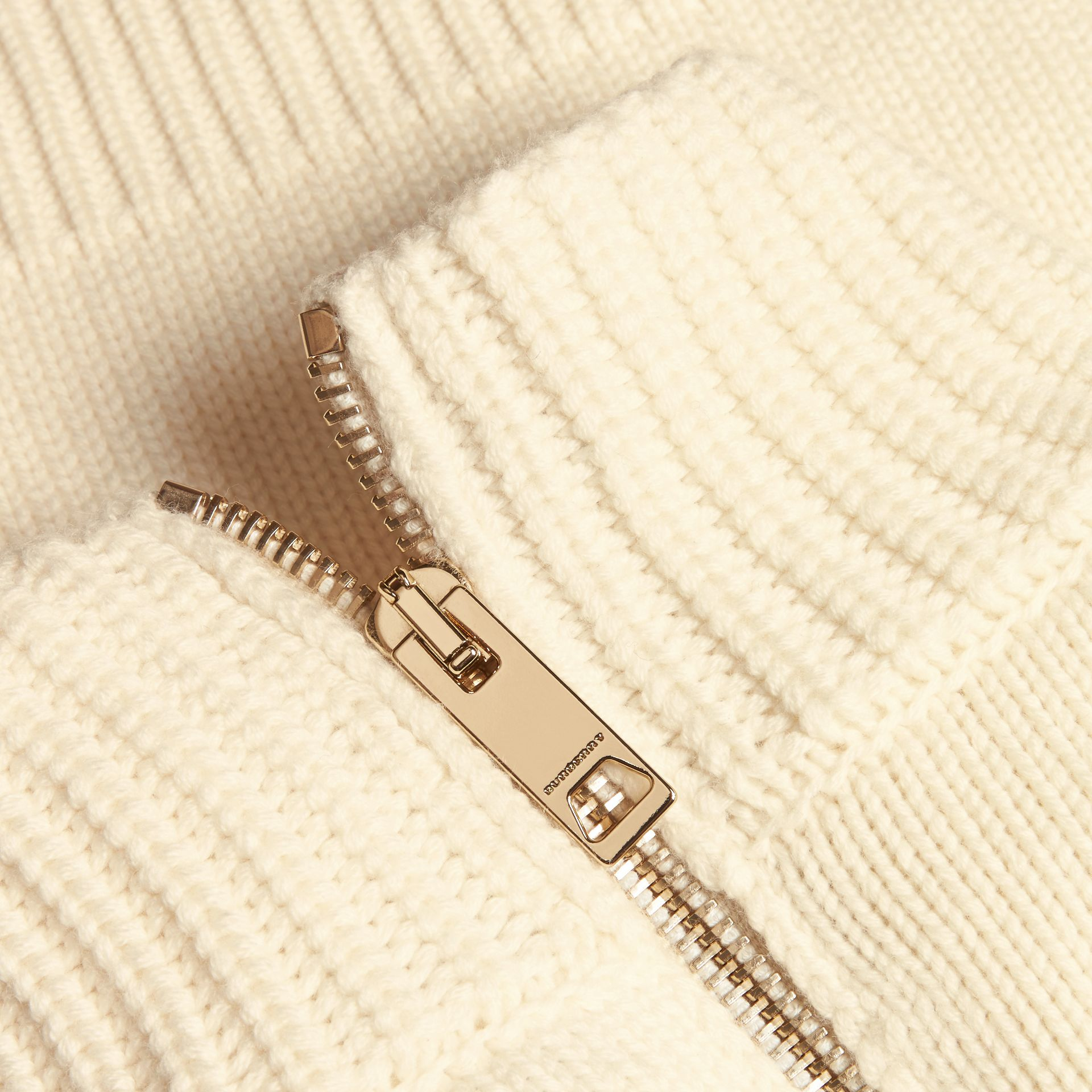 Natural white Regimental Detail Wool Cashmere High-neck Dress - gallery image 2