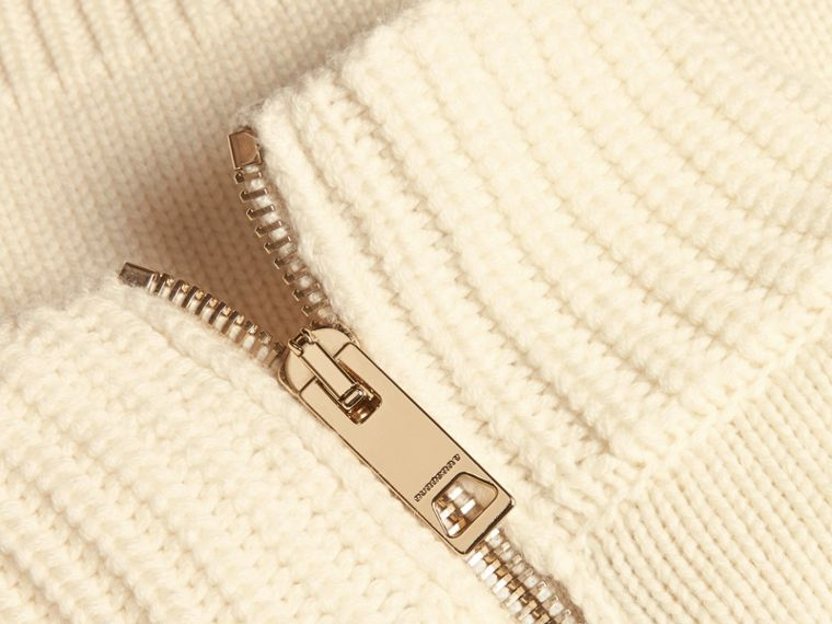 Chain Detail Wool Cashmere High-neck Dress in Natural White - cell image 1