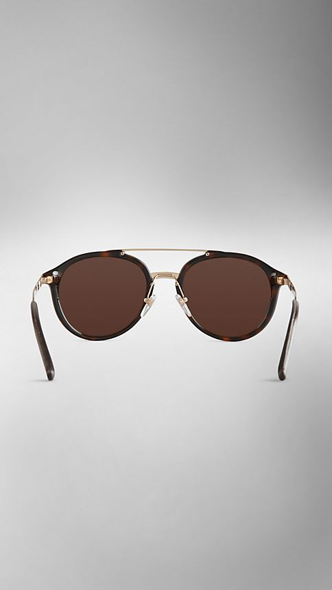 Tortoise shell Trench Collection Round Frame Sunglasses - Image 3