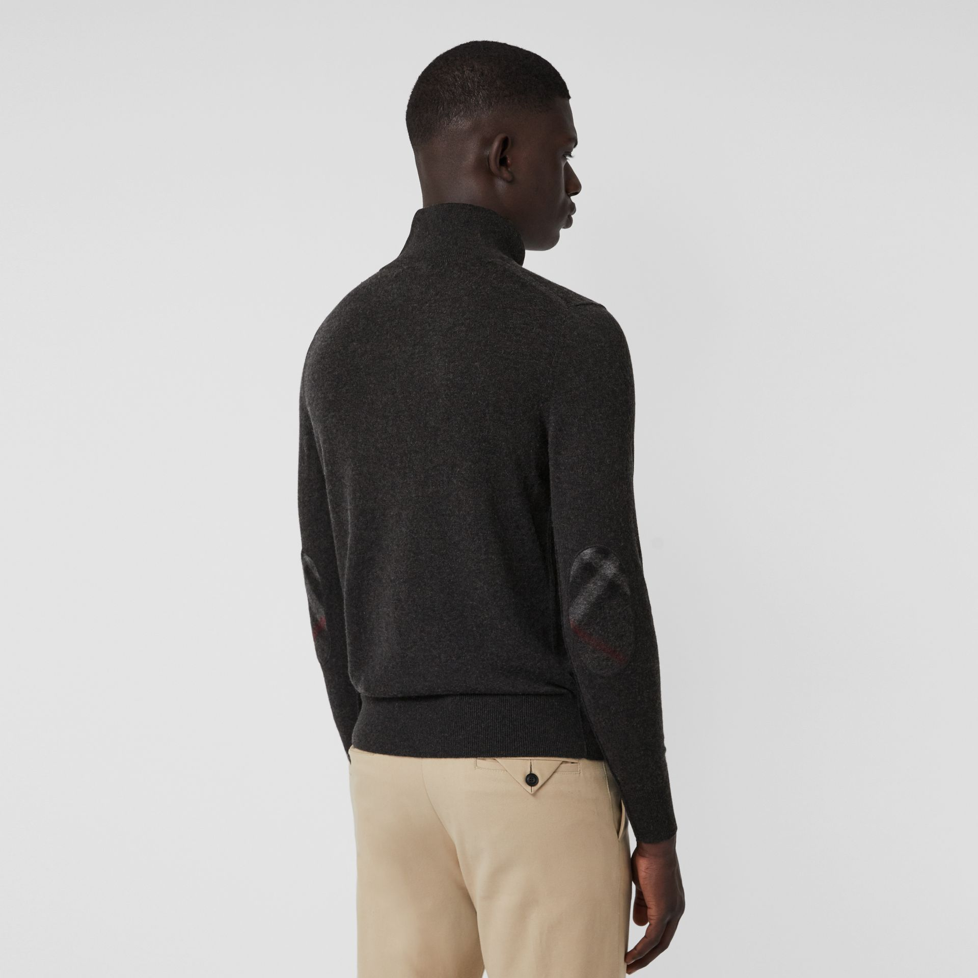 Zip-neck Cashmere Cotton Sweater in Charcoal - Men | Burberry Canada - gallery image 2