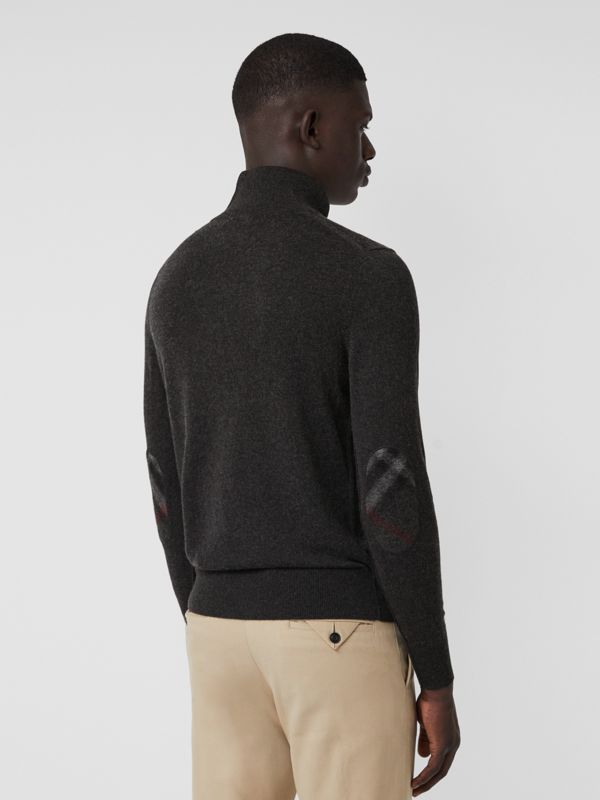 Zip-neck Cashmere Cotton Sweater in Charcoal - Men | Burberry - cell image 2