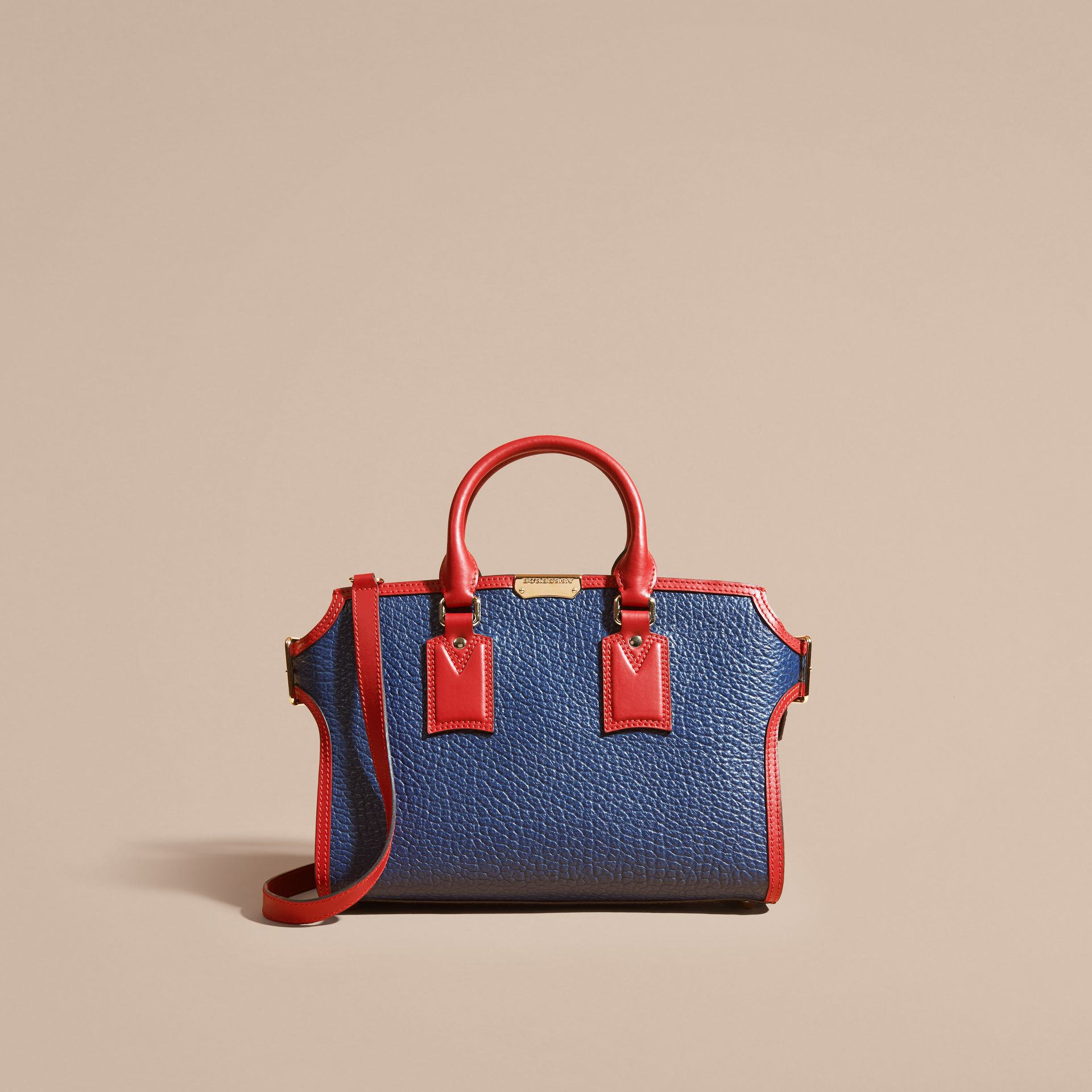 Blue carbon/parade red The Medium Clifton in Signature Grain Leather with Border Detail - gallery image 9
