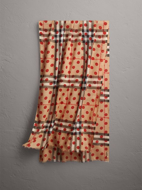 Spot Print and Check Lightweight Wool Silk Scarf in Military Red
