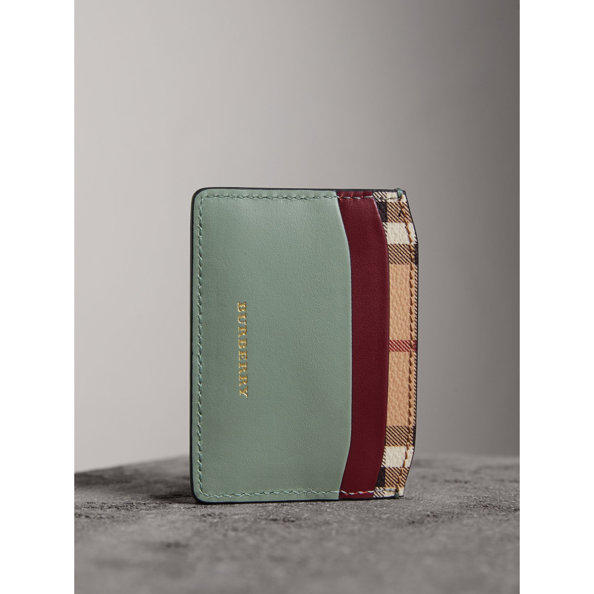 Beasts Motif Haymarket Check and Leather Card Case in Celadon Green - Women | Burberry - gallery image 3