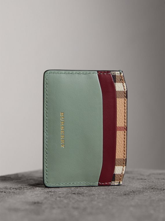 Beasts Motif Haymarket Check and Leather Card Case in Celadon Green - Women | Burberry - cell image 2