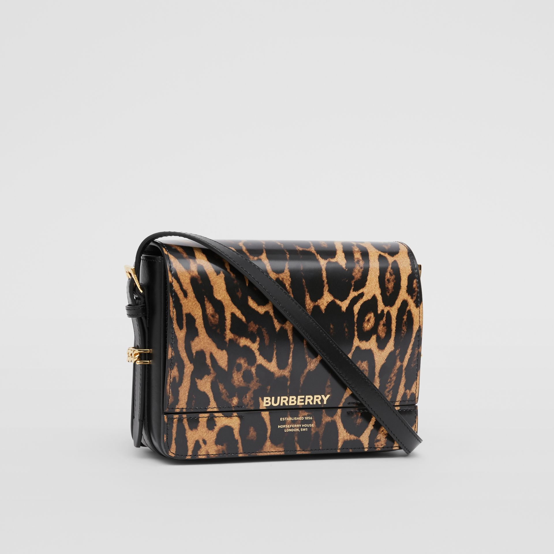 Small Leopard Print Leather Grace Bag in Dark Mustard - Women | Burberry - gallery image 6
